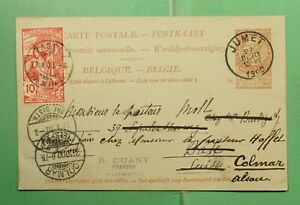 DR WHO 1900 BELGIUM JUMET POSTAL CARD FORWARDED TO FRANCE POSTAGE DUE  f94066