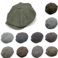 Mens Flat Cap Tweed Grey 8 Panel Newsboy Baker boy Hat Gatsby Peaky Blinders NEW