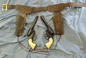 (2) Vtg. Mattel Toy Cap Gun, Black Fanner 50 w/ Impala Grips & Wild-Land Holster