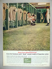 Allied Chemical PRINT AD - 1962 ~Caprolan carpet in New York Yankees locker room