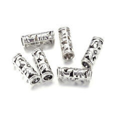 20pcs Tibetan Alloy Tube Beads Hollow Filigree Loose Spacers Antique Silver 23mm
