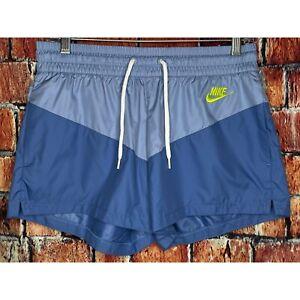 NWT Nike Sportswear Heritage Woven Women's Small Drawstring Shorts Blue