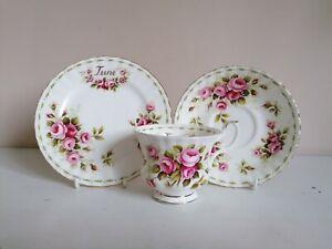 "Royal Albert ""Flower of the Month - June, Roses"" Tea Trio"