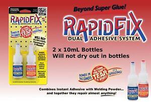 Rapid Fix 2 x 10ml Dual Adhesive System Welding Powder Quick Drying 6121705ES