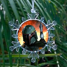 Star Wars Boba Fett Face Snowflake Blinkng Light Holiday Christmas Tree Ornament