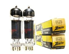 Matched Code NOS PAIR RCA USA 6CZ5 Black Plate Tubes Tall Bottle 6973-Sub Zenith