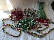 Huge Old Vtg Christmas Garland Faceted Tubular Beads bells Collection Lot 320�