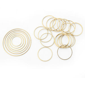 40Pcs Raw Brass Open Round Circle Charms Pendant Jewelry Necklace Earring Making