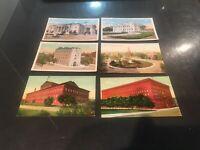 6 Vntg Washington DC Linen Postcards Masonic, Pension And Other.