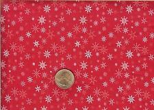CHRISTMAS SNOWFLAKES ON RED - RTC FABRICS - ONE YARD
