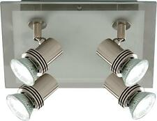 Searchlight 7844-4 TOPHAT Satin Silver & Frosted Glass 4 Spotlight Ceiling Light