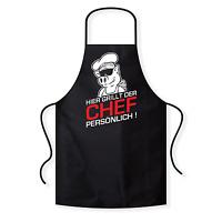 Hier grillt der Chef persönlich Fun Comedy Grillschürze Kochschürze Latzschürze
