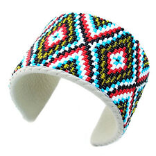 MULTI-COLOR NATIVE STYLE HANDCRAFTED BEADED CUFF LEATHER FASHION BRACELET B41/2