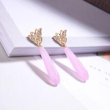 Boucles d'Oreilles Papillon Pavé Goutte Long Motif Quartz Rose Fin Retro AA23