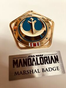 Star Wars The Mandalorian Marshal Badge and Plaque all metal NEW! READY TO SHIP!
