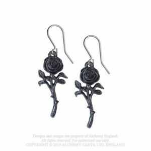 ALCHEMY ENGLAND Gothic Punk Fantasy DROPPER EARRINGS Romance of the Black Rose