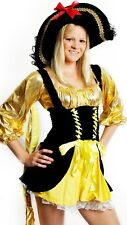 Womens Black and Gold Pirate Bucaneer Ladies Fancy Dress Costume Size 8 - 10