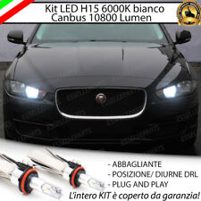 KIT FULL LED H15 JAGUAR XE 10800 LUMEN CANBUS NO AVARIA LUCI 6000K BIANCO