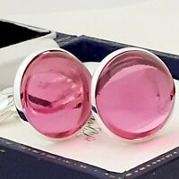 Vintage 1970s Rose Pink Glass Cabochon - Large Round Silvertone Cufflinks