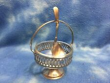 ANTIQUE VICTORIAN SILVER PLATE SUGAR / JAM DISH & SPOON BY SHEFFIELD ENGLAND