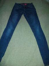 """ZANA DI Blue Denim STRETCH Skinny Low Rise Straight Leg Jeans, Sz 0 - 25"""" x 32"""""""