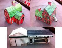 John Deere Vintage Collectible Cardboard Barn, House & Dealership. New in Box.