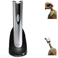 Silver Oster Cordless Electric Wine Bottle Opener Foil Cutter Corkscrew Remover