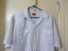 Vintage Ely Plains Big Man White Men's Pearl Snap SS Shirt Size 2X Striped