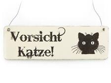 Vintage Deko Schild Türschild VORSICHT KATZE Shabby Nostalgie Landhaus Holz weiß
