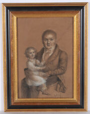 "Jean Baptist Mutin (1789-1855) ""Portrait of a gentleman with child"", drawing"