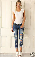 Ripped Light Blue WAKEE Boyfriend Jeans AU 6 XS Distressed Denim Pants Low Rise