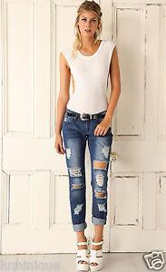 Ripped Light Blue WAKEE Boyfriend Jeans AU 6 XS Distressed Denim Pants Low Rise