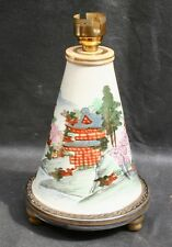Lovely Antique Vintage Geometric Japanese Satsuma Pottery Lamp Base Hand Painted