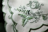 Vtg Antique FAB Linen Embroidered Madeira Set Runner Napkins Triple Monogram