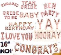 "16"" Rose Gold Foil Ballon All Pattern/0-9/A-Z Baby Wedding Hen Party Decor"