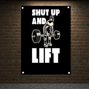 SHUT UP AND LIFT Motivational Workout Posters Exercise Banners Flags Gym Decor