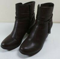 Women's Craft & Barrow Brown Faux Leather Ankle Boots Size 7 1/2M Booties