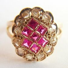 Antique Ring 18K Gold, Rose Cut Diamonds & Synthetic Rubies - VERY NICE