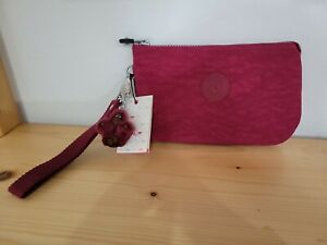 Kipling Creativity XL Pouch Cosmetic Bag Wallet Case Travel NWT Deep Red9×6×2.25