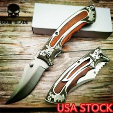 Military Folding Knife 57HRC Wood Handle Outdoor Camping Knives Tactical Huntng