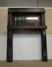 Antique Quarter Sawn Oak Mantle, Fireplace Mantel, Beveled Mirror, Empire Style