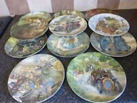 """VINTAGE WEDGEWOOD WIND IN THE WILLOWS SET OF 11 SCENIC PLATES 8"""" DIAMETER"""