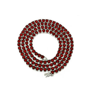 Unisex Bling 4mm 1 Row Tennis Necklace Silver Finish Red Lab Diamonds 24 inches
