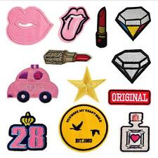 12pcs Embroidery Sew Iron on Patch Badge Bag Hat Applique Cloth Diamond Lipstick