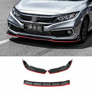 Fit For Honda Civic 2019-2020 Front Bumper Lip Spoiler Splitter Carbon Fiber+Red