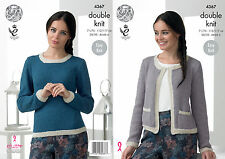 King Cole 4367 Knitting Pattern Jacket and Sweater in King Cole Baby Alpaca DK