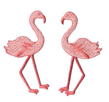 Flamingo - Tropical bird - Embroidered Iron On Applique Patch - Set Of  2