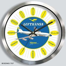LUFTHANSA GERMAN AIRLINES BOEING 707 WALL CLOCK METAL 1960s