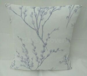 Laura Ashley Designer Cushion Cover PUSSY WILLOW White/Pale Iris Various Sizes