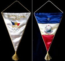 Vintage 1980 Moscow Olympic Games Romania NOC Football Team Pennant & Pin  30cm